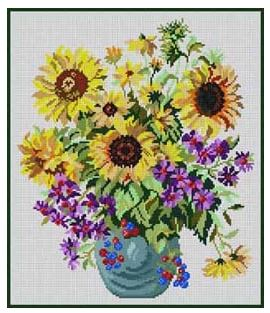 click here to view larger image of Sunflowers in a Vase (hand painted canvases)