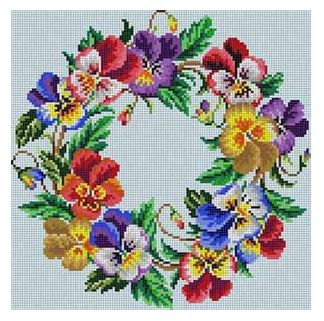 click here to view larger image of Pansy Wreath (hand painted canvases)