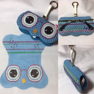 click here to view larger image of Blue Owl Reading Glasses Case with Key Ring (hand painted canvases)