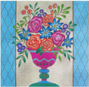 click here to view larger image of Floral Vase (hand painted canvases)