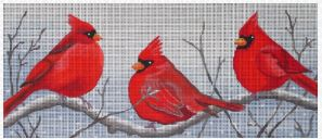 click here to view larger image of 3 Cardinals in the Snow (hand painted canvases)