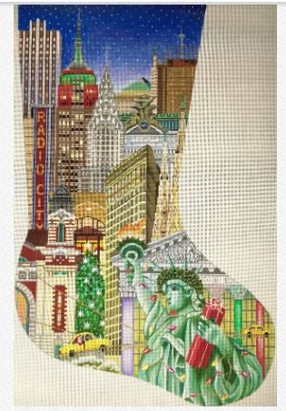 click here to view larger image of NY City Stocking (hand painted canvases)