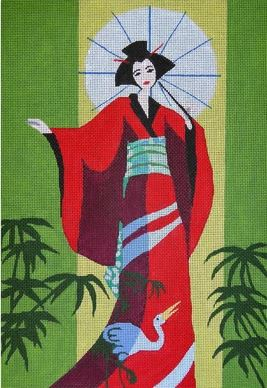 click here to view larger image of Geisha with Parasol (hand painted canvases)