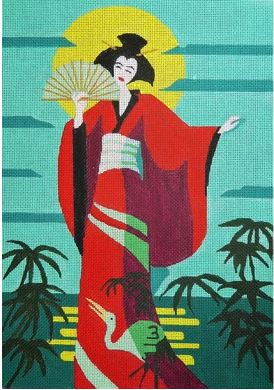 click here to view larger image of Geisha with Crane (hand painted canvases)