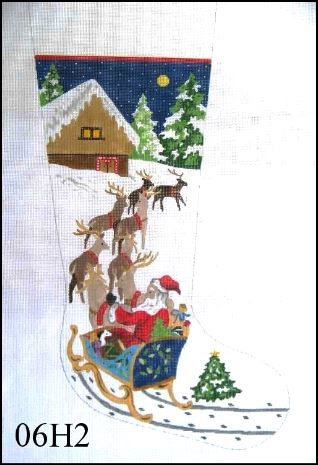 click here to view larger image of Santa in Sleigh / Reindeer  (hand painted canvases)