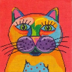 click here to view larger image of Colorful Cat (hand painted canvases)
