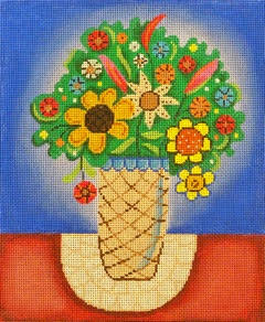 click here to view larger image of Vase Of Flowers On Doilie (hand painted canvases)