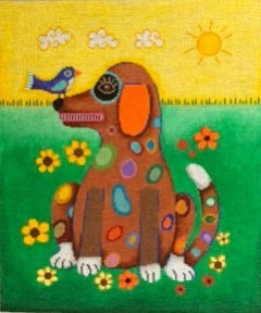 click here to view larger image of Spotted Dog with Bird (hand painted canvases)