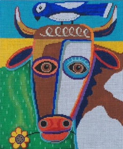 click here to view larger image of Cow Chewing A Flower (hand painted canvases)