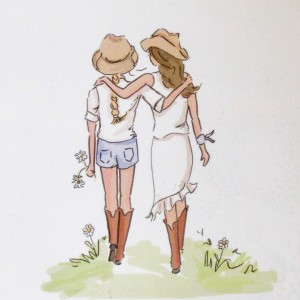 click here to view larger image of Cowgirls and Flowers - Small (hand painted canvases)