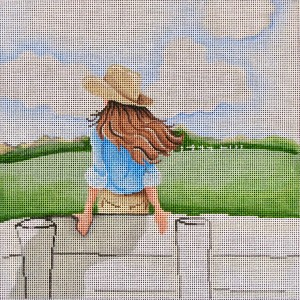 click here to view larger image of Cowgirl Sitting on a Fence (hand painted canvases)