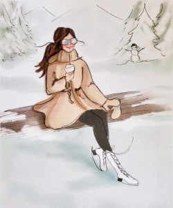 click here to view larger image of Ice Skater Takes a Break (hand painted canvases)