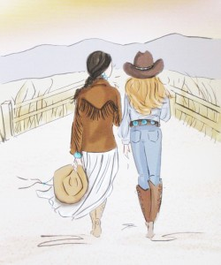 click here to view larger image of Cowgirls at Sunset (hand painted canvases)