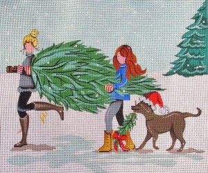 click here to view larger image of Carrying the Christmas Tree (hand painted canvases)