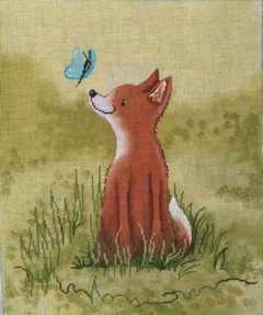 click here to view larger image of Baby Fox with Butterfly (hand painted canvases)