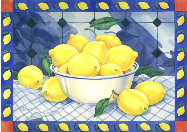 click here to view larger image of Bowl of Lemons (hand painted canvases)