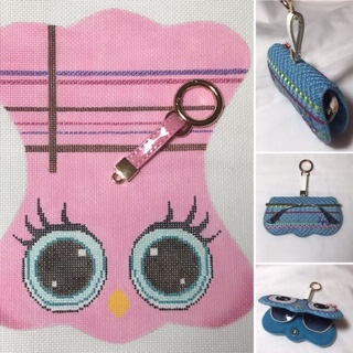 click here to view larger image of Pink Owl Reading Glasses Case with Key Ring (hand painted canvases)