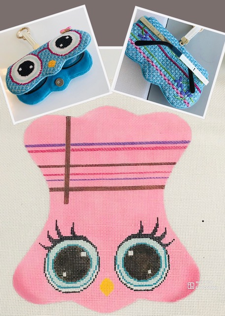 click here to view larger image of Pink Owl Sun Glasses Case with Key Ring (hand painted canvases)