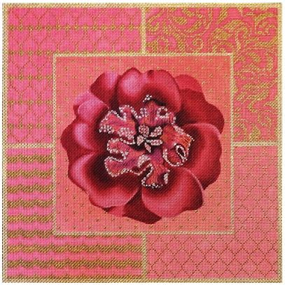 click here to view larger image of Fuchsia Jeweled Flower Collage (hand painted canvases)