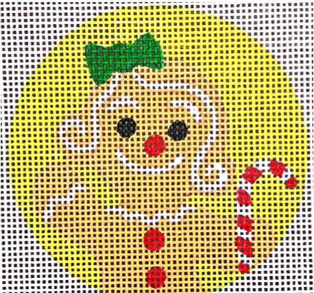 click here to view larger image of Gingerbread Girl with Candy Ornament (hand painted canvases)