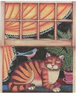 click here to view larger image of Cat in Window (hand painted canvases)