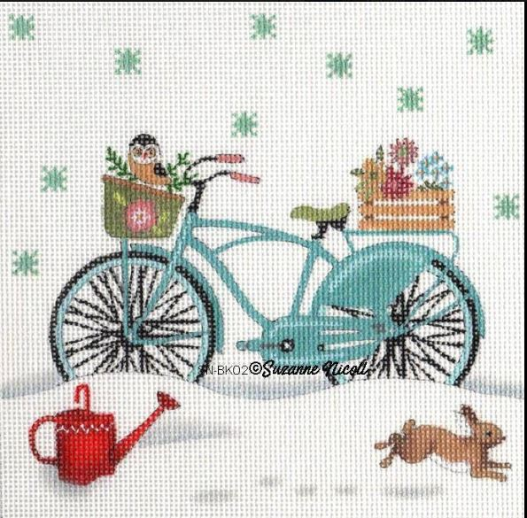 click here to view larger image of Winter Flowers Bike  (hand painted canvases)