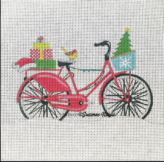 click here to view larger image of Merry Christmas Bike  (hand painted canvases)