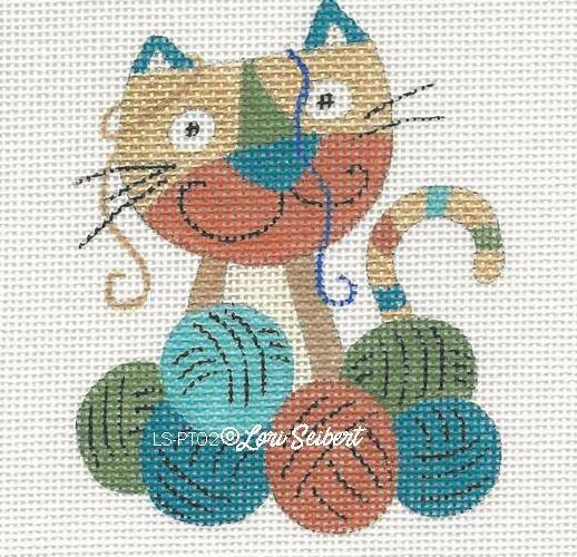 click here to view larger image of Cat & Knitting (hand painted canvases)