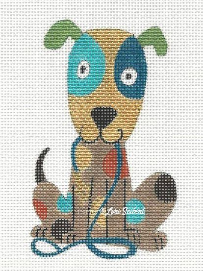 click here to view larger image of Dog & Leash (hand painted canvases)