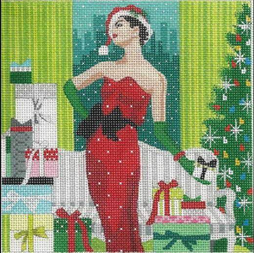 click here to view larger image of Christmas Girl (hand painted canvases)