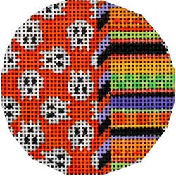 click here to view larger image of Skulls/Stripes Mini Round (hand painted canvases)