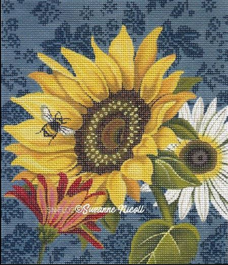click here to view larger image of French Sunflower  (hand painted canvases)