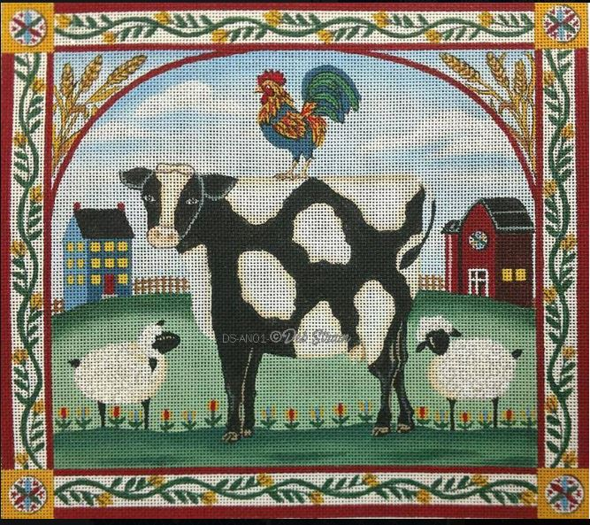 click here to view larger image of Barnyard Cow (hand painted canvases)