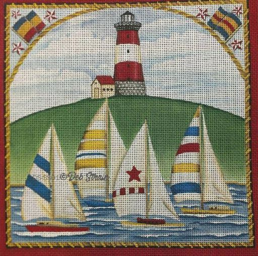 click here to view larger image of Four Sailboats (hand painted canvases)