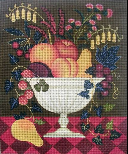 click here to view larger image of Fruit & Flowers Bowl (hand painted canvases)