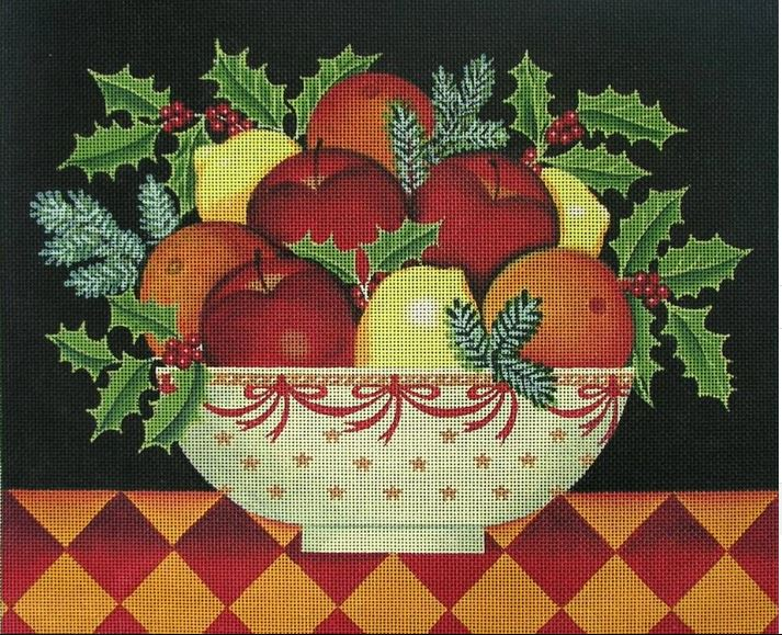 click here to view larger image of Christmas Bowl (hand painted canvases)