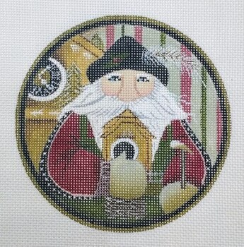 click here to view larger image of German Santa Round (hand painted canvases)
