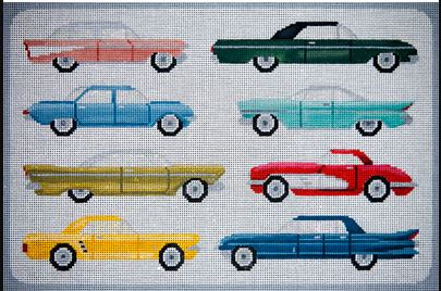 click here to view larger image of American Cars from the 1960's (hand painted canvases)