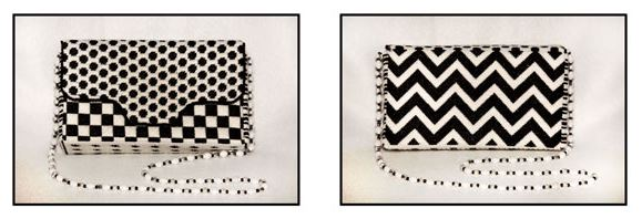 click here to view larger image of Black and White Graphics Purse (hand painted canvases)