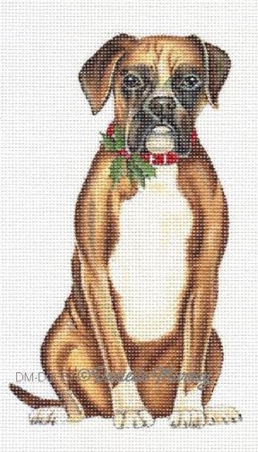 click here to view larger image of Christmas Boxer Ornament (hand painted canvases)