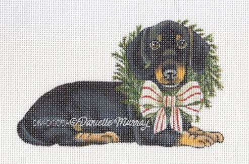 click here to view larger image of Christmas Dachshund Ornament (hand painted canvases)