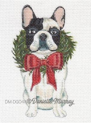 click here to view larger image of Christmas Boston Terrier Ornament (hand painted canvases)