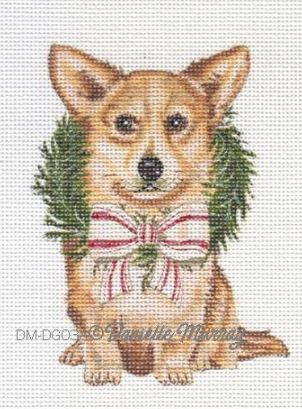 click here to view larger image of Christmas Corgi Ornament (hand painted canvases)