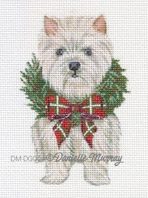click here to view larger image of Christmas Westie Ornament (hand painted canvases)