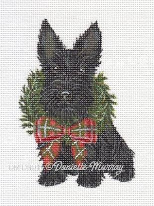 click here to view larger image of Christmas Scottie Ornament (hand painted canvases)
