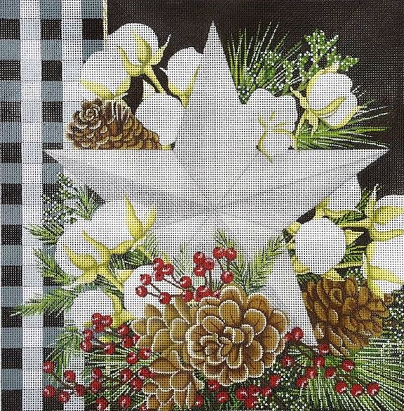 click here to view larger image of Gingham Bolls Star (hand painted canvases)
