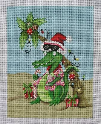 click here to view larger image of Beach Gator with Background (hand painted canvases)