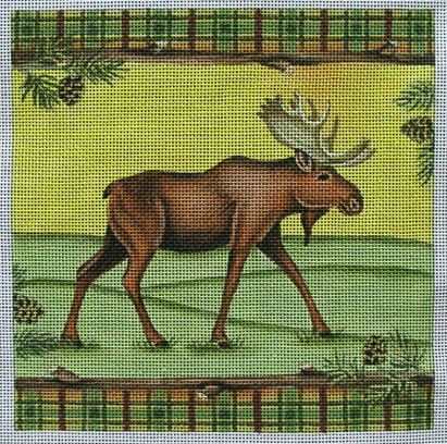 click here to view larger image of Moose with Plaid (hand painted canvases)