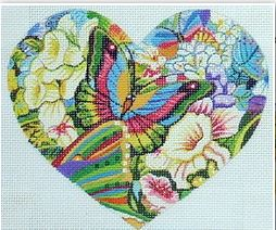 click here to view larger image of Butterflies on Flowers Heart   (hand painted canvases)