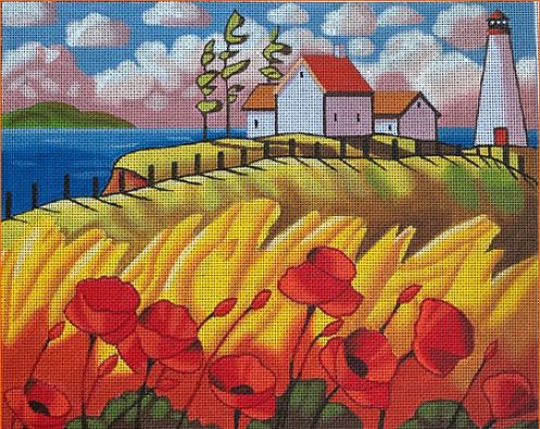 click here to view larger image of Lighthouses & Poppies (hand painted canvases)